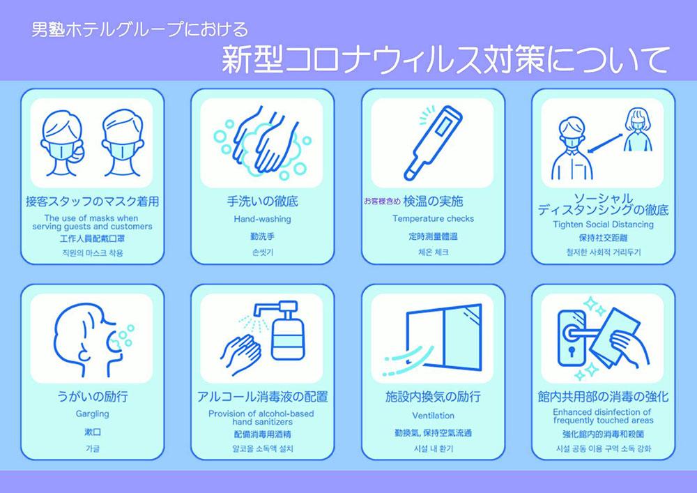 男塾ホテルグループにおける 新型コロナウィルス対策について